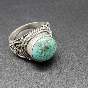 Jewelry - Vintage Sterling Silver Bevel Set Turquoise Ring